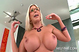 Big boobed blonde MILF spreading fuck holes on camera