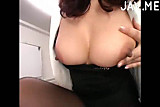 Mosaic: Asian MILF makes him cum hard