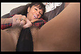 Busty mature brunette with hairy pussy strips